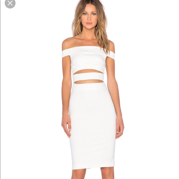 c9f89a580f9 White Nicholas off shoulder cut out midi dress. M_5ac4362a72ea8818174a47f0